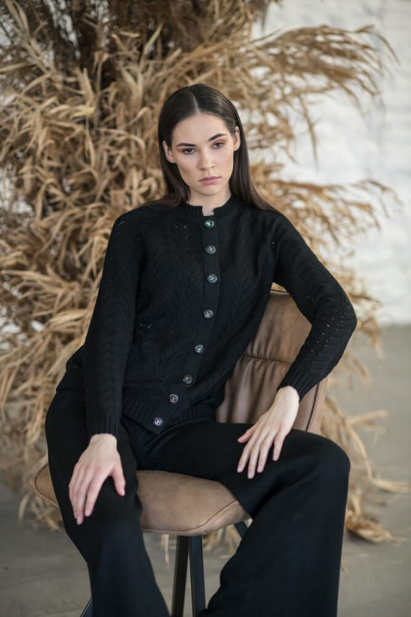 Buttons fastened, openwork cardigan - 2