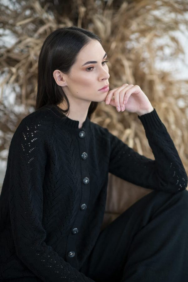 Buttons fastened, openwork cardigan - 5